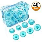 40 Pz Blu Magic Bigodini Soft Roller Silicone No Heat No Clip Cura dei Capelli Free Strumenti per lo Styling fai da te per Capelli Corti Lunghi (20 Grandi e 20 Piccoli Bigodini in Silicone)