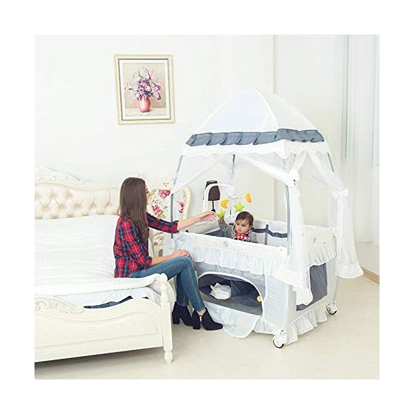 ZXCVB Multifunctional Crib Folding Crib Portable Baby Travel Bed for 0-3 Years Old Baby Multifunctional Folding Bedwith Travel Child Game Beds ZXCVB ◆Material: Made of oxford fabric, waterproof and sturdy, the bottom support is made of aviation steel tube, which is more stable and safe. The upper layer can bear 15kg and the lower layer bears 50kg. ◆Size:125*65*77cm ◆Creative Design:Put the bed on the bed of the room, so that the baby feels always accompanied by Mommy, and it feels like sleeping in the mother's womb, sleep better. The lower layer adopts the aviation cotton technology, which is comfortable and soft, protects the baby's spine health, and allows the baby to sleep peacefully. The gauze design can observe the baby's every move in 360°, ensuring that the air circulation can also protect the baby from mosquitoes. 3