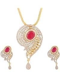 Swasti Jewels American Diamond CZ Zircon Fashion Jewellery Set Pendant Earrings For Women