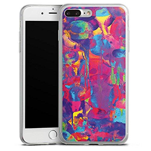 Apple iPhone 8 Plus Slim Case Silikon Hülle Schutzhülle Color Explosion Farben Bunt Silikon Slim Case transparent