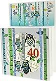 Forever 40 Geburtstag Pop up 3 Ebenen 3D Laser Karte Hand gesteckt Schlaue Eulen 17x13cm