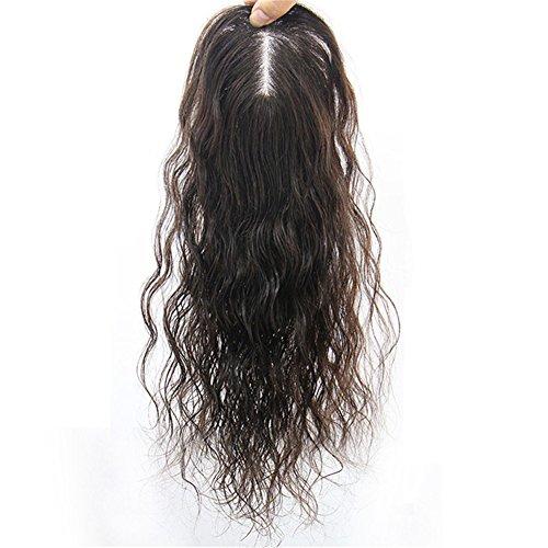 Remeehi-Toupet, flauschiges, gelocktes Clip-in-Echthaar, Topper, Haarteil für Frauen, für dünner...