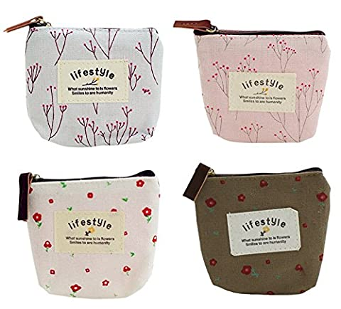 Cute Small Handbag Coin Zip Purse Mini Wallet Pack of 4,Canvas Pouch for Coin,Credit Card, ID Card, Keys, Headset,