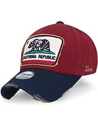ililily Illustration Patch Distressed Cotton Baseball Cap Vintage Trucker Hat