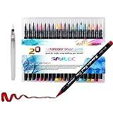 Watercolour Brush Set,SAYEEC Premium 20 Colour Watercolour Paint Brush Marker Pens with 1 Free Refillable Blending Water Pen Soft Flexible Tip for Adult Coloring Books,Manga,Comic,Calligraphy
