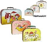 Kinderkoffer Klein -  Pilz mit Mädchen - 2. Wahl  - Pappe Karton Fahrzeug - Autokoffer Reisekoffer - Ideal für Spielzeug und als Geldgeschenk - Nostalgie - Pappkoffer - Puppenkoffer Koffer Kinder