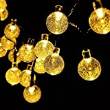 Fairy Lights Solar Powered 30 LEDs Globe Blub Garden Decking String Lights Waterproof Green Cable 6M/20ft Crystal Ball Lamp Lights Ambiance Lighting for Valentine