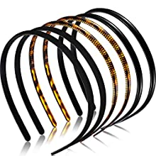 6 Pieces Plastic Plain Headbands Teeth Comb Headbands Skinny DIY Hair Bands Headbands for Women Girls (Leopard Print Coffee, Black, Rubber Black)