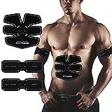 Elettrostimolatore Muscolare Training per addominali Cintura Muscoli Fitness -fascia USB Ricaricabile- Senza fili a 6 contatti - 15 livelli di intensità graduali- Training Uomo/Donna