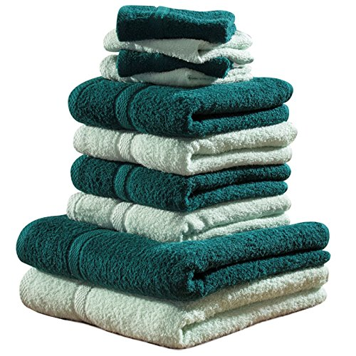 -[ Set Of 10 Luxury Soft Egyptian Cotton Beach Bath Towel Hand Face Cloth Bale Set Gift (Ice Blue &