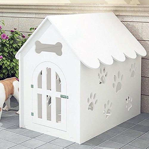 Systond Hund Haus Umweltschutz Platte Aushöhlen Haustier Laufstall Kunststoff Zwinger Hund Haus Käfig Tierheim für Kleine Mittelgroße Hunde Haustiere Weiß House02