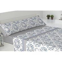 Todomueble-Pierre Cardin Mesina - Juego de Sábanas para cama de 150, compuesto por bajera, encimera y funda de almohada, color Gris