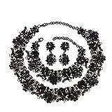 Holylove Damen Statement Halskette Schwarz, Costume Schmuck für Damen Neuheit Mode Halskette Ohrringe Armband 1 Set mit Geschenkbox- HL8041B Black