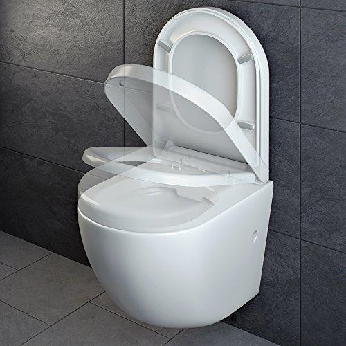 Design Wand Hänge WC ohne Spülrand Spülrandlos Toilette Sitz Softclose hängend 4 - 6