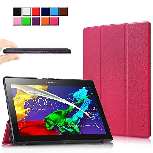 Infiland Lenovo Tab 10 / TAB2 A10-30 Hülle, Ultra Dünn Tri-Fold Smart-Muschel Schutzhülle Tasche mit Auto Sleep/Wake Funktion für Lenovo Tab 3 10 Plus/Tab 3 10 Business 10,1 Zoll Tablet, Magenta