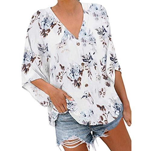 Damen Tops Sommer T-Shirt Blusen Locker Oberteile für Frauen Blumenmuster Tank Crop Sexy Flowy Rundhals Beiläufig Tunika Blumen Asymmetrisch S/M/L/XL/XXL
