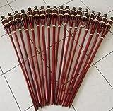 Hillfield® 12 x Gartenfackel Mahagoni Bambus Bambusfackel Garten Fackel mit Sturmverschluss Dochtschutz Gartenfackeln 90cm (12 Stück, Mahagoni)