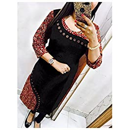 Apple Creation Latest Partywear Readymade A-Line Cotton Printed Selfie Kurti for Women