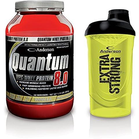 Integratore Anderson Quantum 8.0 Proteine del siero concentrate Whey Protein WPC 90% 800g (gusto Banana) + Omaggio shaker Anderson