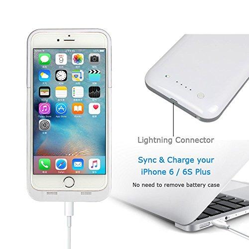 Ultra® 5.5 nero e Purple iphone 6 plus 6s plus Power Bank Charger Case per Plus 6800 mah 5.5 modelli di Apple iPhone 6 6s sottile ricaricabile esterna ricambio backup estesi charger batteria coperch Bianco