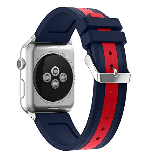 Price comparison product image For iWatch Straps 42mm AISPORTS Apple Watch Strap 42mm Silicone Smart Watch Band Replacement Strap with Stainless Steel Bracelet Buckle Clasp Wrist Strap for 42mm iWatch Series 3 / 2 / 1 Sport Edition