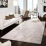 T&T Design Teppich Handgemacht Modern Edel Hochwertig Viskose Baumwolle Meliert Beige, Größe:200x300 cm