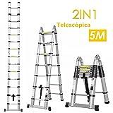 Fixkit 5M Escalera Telescópica de Aluminio, Fuerte Estabilidad, Portátil...