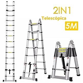 Fixkit Escalera Telescópica de Aluminio, Fuerte Estabilidad, Portátil Multiuso con Barra de Equilibrio Antideslizante y Ruedas en Parte Inferior (Carga 150 KG, Expandible, Plegable)