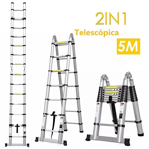 Fixkit 5M Escalera Telescópica de Aluminio, Fuerte Estabilidad, Portátil Multiuso con Barra de Equilibrio Antideslizante y Ruedas en Parte Inferior (Carga 150 KG, 16.4FT, Expandible, Plegable)