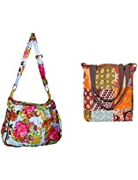 Indiweaves Combo Pack Of 1 Cotton Kantha Tote Bag And 1 Cotton Shopper Bag (Pack Of 2) 82100-129190-IW-P2