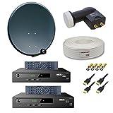 PremiumX Digitale HD Sat Anlage für 2 Teilnehmer 60cm Schüssel mit Twin LNB 0,1dB + 25m Sat Kabel 130dB + 2x Digital HDTV Sat Receiver inkl. HDMI-Kabel