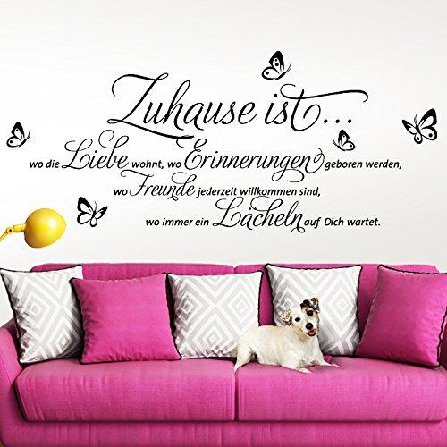 Preisvergleich Produktbild Grandora® W3058 Wandtattoo Zitat Zuhause ist… schwarz (BxH) 120 x 52 cm