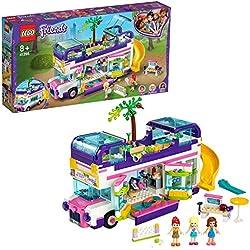 LEGO 41395 Friends Le bus de l'amitié avec piscine et toboggan, Ensembles de vacances d'été pour 8 ans et plus
