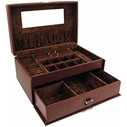 Jeweler with 1 mirror handle and 2 trays Size: U Color: BROWN