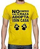 latostadora - Camiseta No Compres Uno de Raza para Hombre Amarillo limón S