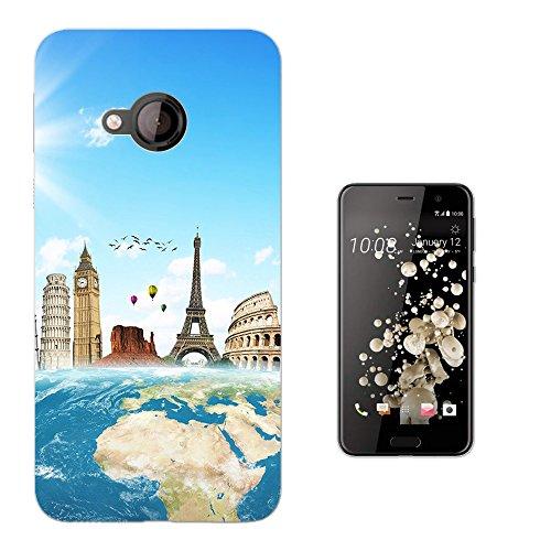 002973 - Travel World Map London America Paris Italy Rome Design HTC U Play 5.2
