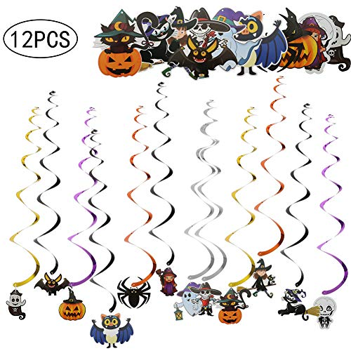 Hexe Halloween Dekorationen - DrafTor 12 Stück Halloween-Spirale Dekoration hängenden