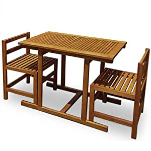 Ensemble table et chaises salon de jardin en bois d 39 acacia for Ensemble salon bois