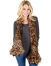 Ladies Dark Leopard Animal Print Scarf With Large Paws Claw Pockets Great Gift