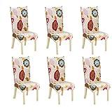 Universal Stuhlhussen 2/4/6 Stück Stretch-Stuhlbezug Hochwertiger Gemusterte Stretchhusse Stuhlbezug Elastische Sitzauflage Bi-Elastic Stuhlüberzüge 14 Muster zur Wahl 6 Stück Set Muster 4