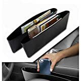 #10: Ezip 2 X Black Car Catcher Storage Bag Box Caddy Car Seat Side Gap Pocket Car Seat Side Pocket Caddy Car Seat Slit Pocket Catcher For Hyundai I 20