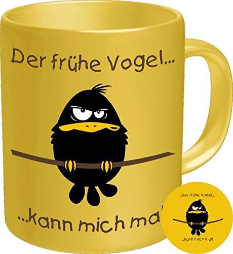Vogel Vintage Tee (2600 Geburtstag Geschenke-Set früher Vogel: DER FRÜHE VOGEL KANN MICH MAL, Morgenmuffel Premium Geschenk Tasse Keramik, Original RAHMENLOS® in Geschenkbox + Button Vogel)