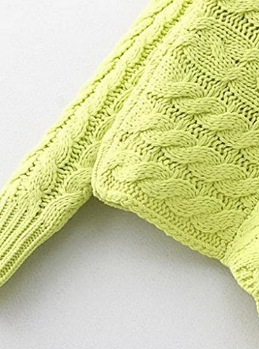 Bigood Pull Femme Hiver Tricot Sweater Manche Longue Col Rond Chic Jaune