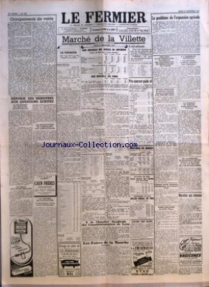 FERMIER (LE) [No 105] du 31/12/1953 - GROUPEMENTS DE VENTE PAR J L REPONSE DES MINISTRES AUX QUESTIONS ECRITES LE TRANSPORT DES MOUTONS TRANSHUMANTS LES PRETS AUX JEUNES MENAGES LES REPARTITIONS DE CARBURANTS AUX AGRICULTEURS LE CONGRES DE L'AVICULTURE MARCHE DE LA VILLETTE GROS BETAIL COTE OFFICIELLE DES ANIMAUX DE BOUCHERIE COTE OFFICIELLE DES PORCS PRIX-COURANT POIDS VIF MOUVEMENT DES ABATTOIRS BOUCHERIE EN GROS - COURS MOYEN DES VIANDES AUX ABATTOIRS CHARCUTERIE EN GROS - COTAT par Collectif