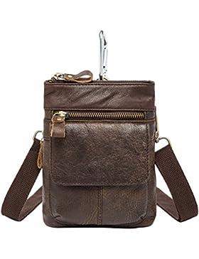 Zhuhaitf Mens Unisex Cowhide Leather Zipper Soft Mini Waist Bag Shoulder Bag Crossbody Bag for Halloween Gift