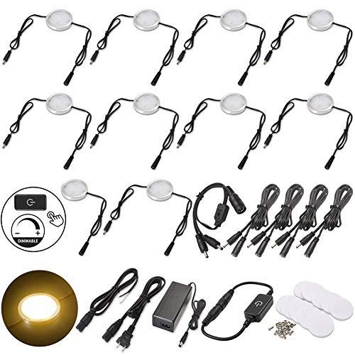 Unterschrank-Beleuchtung, verkabelt, mit Wandstecker, 10 Lampen Modern 10 Lights Warm White Black Cable -