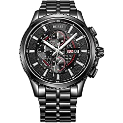 BUREI® Herren-Armbanduhr Chronograph Analog Quarz Edelstahl Sport Schwarz Armbanduhr Wasserdicht Uhr feuerfest kratzfest Uhr