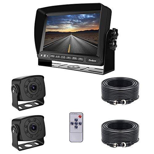 """Coolwoo 7\"""" TFT LCD Kfz-Monitor + 2 x 8 IR-LED Rückfahrkameras mit Nachtsicht, 175 ° Winkel, IP68 + 2 x 20m Anschlusskabel Für LKW/Wohnmobil/Bus/Anhänger (12-32 Volt)"""