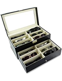 Asvert Boîte de Lunettes Coffret à Bijoux Présentoir en Cuir PU Plateau Elegant, Noir (12 lunette-2)