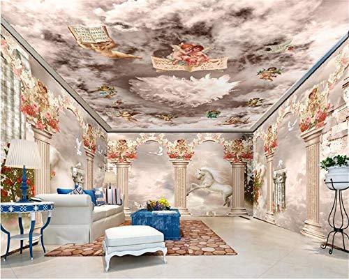 MuralXW Ältere dekorative Tapeten-Träume Römische Spalten-Wolken und Tapete der Nebel-Einhorn-Hintergrund-Wandgemälde 3D-280x200cm (Spalten Für Dekoration Sie Kaufen Die)